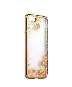"""Чехол-накладка KAVARO для iPhone 7 (4.7"""") пластик со стразами Swarovski 29H золотистый (желтые цветы) купить в интернет-магазине BeautyApple.ru."""