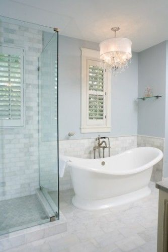 free standing tub and shower. White tile with gray veins  window shutters soaking tub glass shower Best 25 Freestanding ideas on Pinterest Bath remodel
