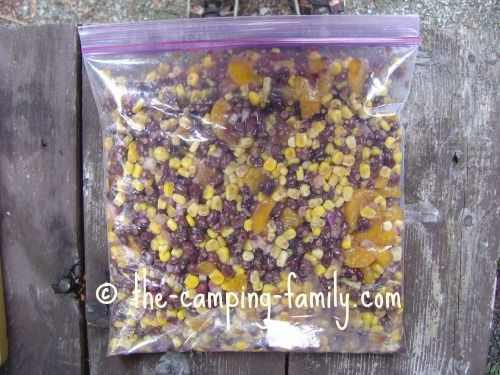 Make Mandarin Black Bean Salad at home, package it in a ziploc bag, and place it in your cooler. It makes a wonderful camping lunch!