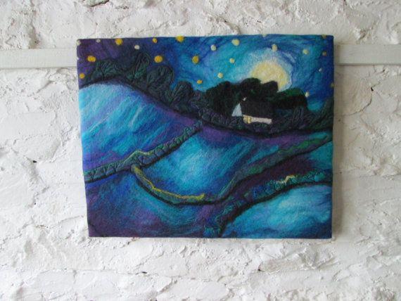 Abstract Felt Landscape Textile Art Night Sky Moon