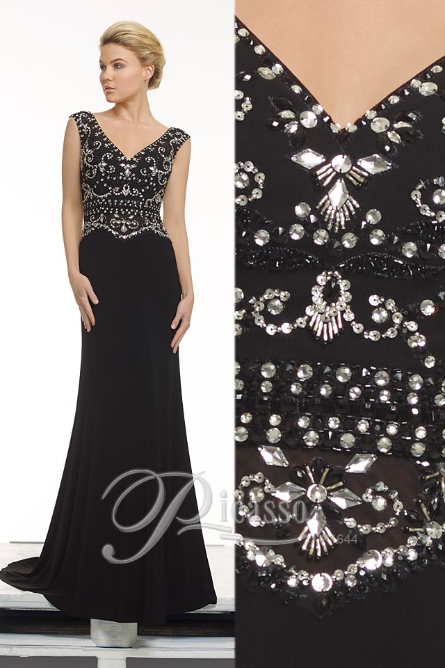 P1644 #Picasso #black #beading #diamentes #engagements #formal #eveningwear