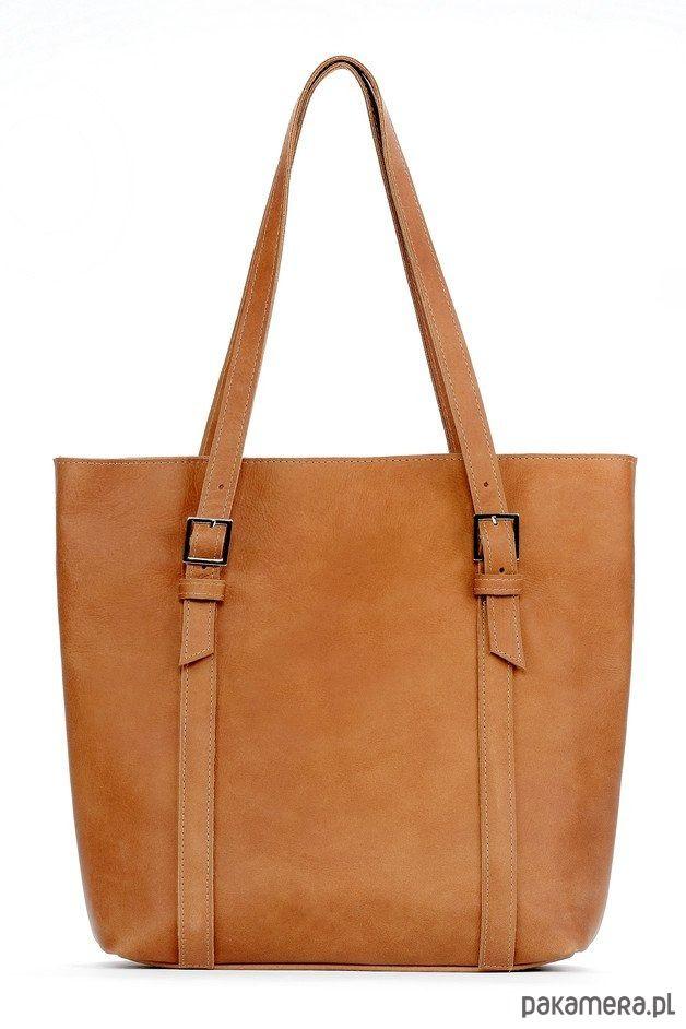 torby na ramię - damskie-Skórzana carmelowa duża torebka damska