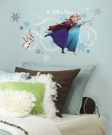 This Frozen Ice Skating Peel-&-Stick Custom Headboard Decal Set is perfect! #zulilyfinds