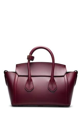 Bally Leather Tote Bag In Dark Red