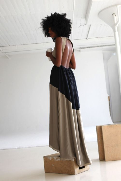 Awesome and would be the perfect modern bridesmaid dress.: Long Dresses, Maxi Dresses, Backless Dresses, Beautiful Dresses, Big Hair, Natural Hair, The Dresses, Colors Blocks, Open Back