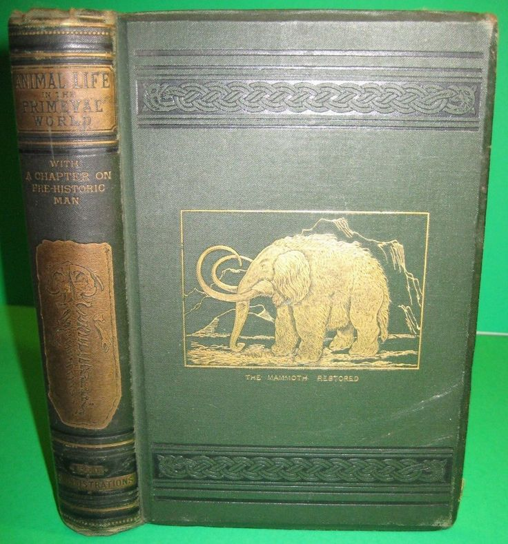 "More guilty pleasures. Mammoth on the cover of this fine copy of ""Animal life in the Primeval World"" by Davenport Adams (1878)"