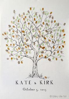 Fingerprint Tree Wedding Guest Book Alternative, Original Hand-drawn Large Olive Design (ink pads sold separately)