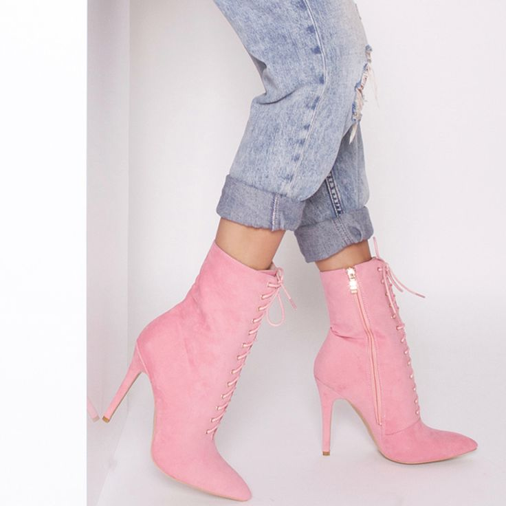 Aaliyah Pink Suede Lace Up Pointed Ankle Boots  : Simmi Shoes