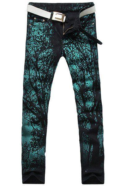 Men's Casual Printing Zip Fly Straight Legs Denim Pants