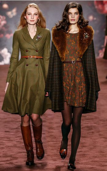 "With a collection appropriately named ""The Brits"", the Austrian designer pays homage to national icons including the Queen and infamous literary characters, Miss Marple and Sherlock Holmes. But the collection is anything but cliché. A series of well-to-do tweeds and earthy florals create elegant looks perfect for channeling your inner English rose."