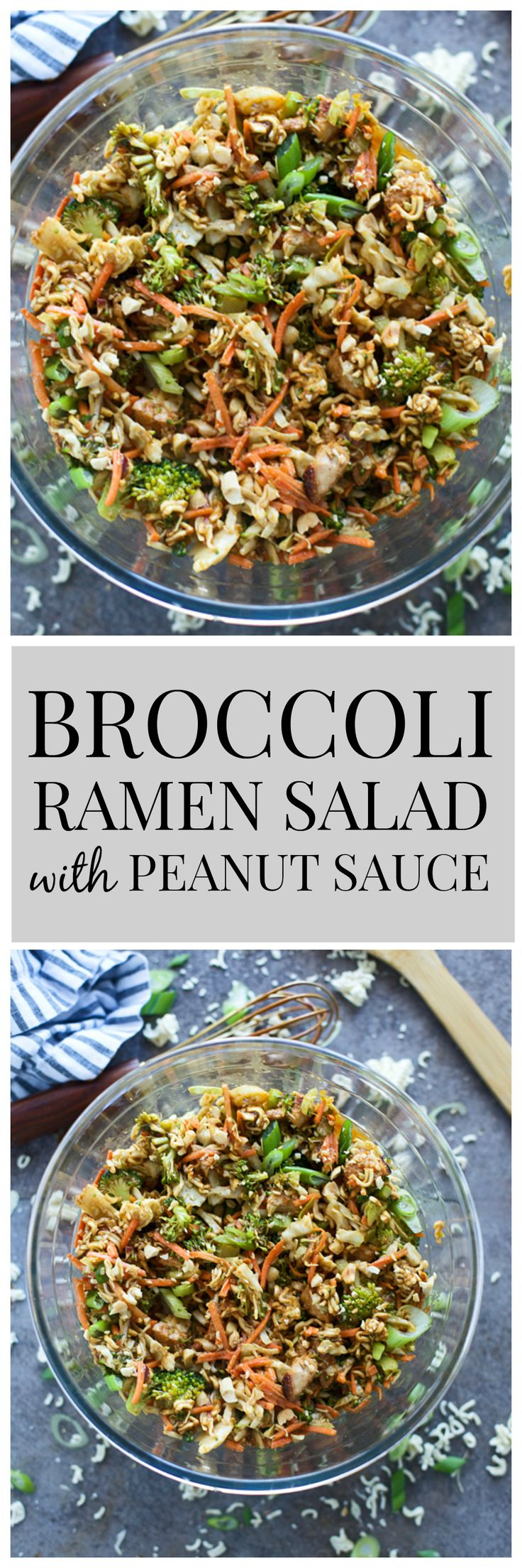 Broccoli Ramen Salad with Peanut Sauce - An updated take on a classic Asian ramen salad! (Shredded Chicken Curry)