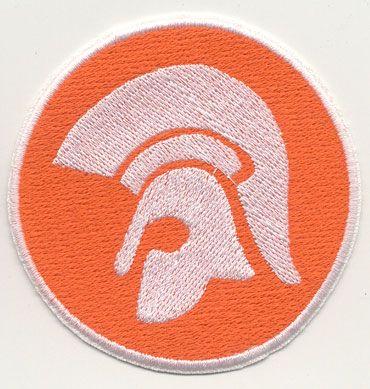 TROJAN HELMET Orange and White logo Patch. This is essential for any original skinhead, wear it proud on your harrington, donkey jacket, monkey jacket, bomber jacket, etc... Buy yours at www.skinsandpunks.com