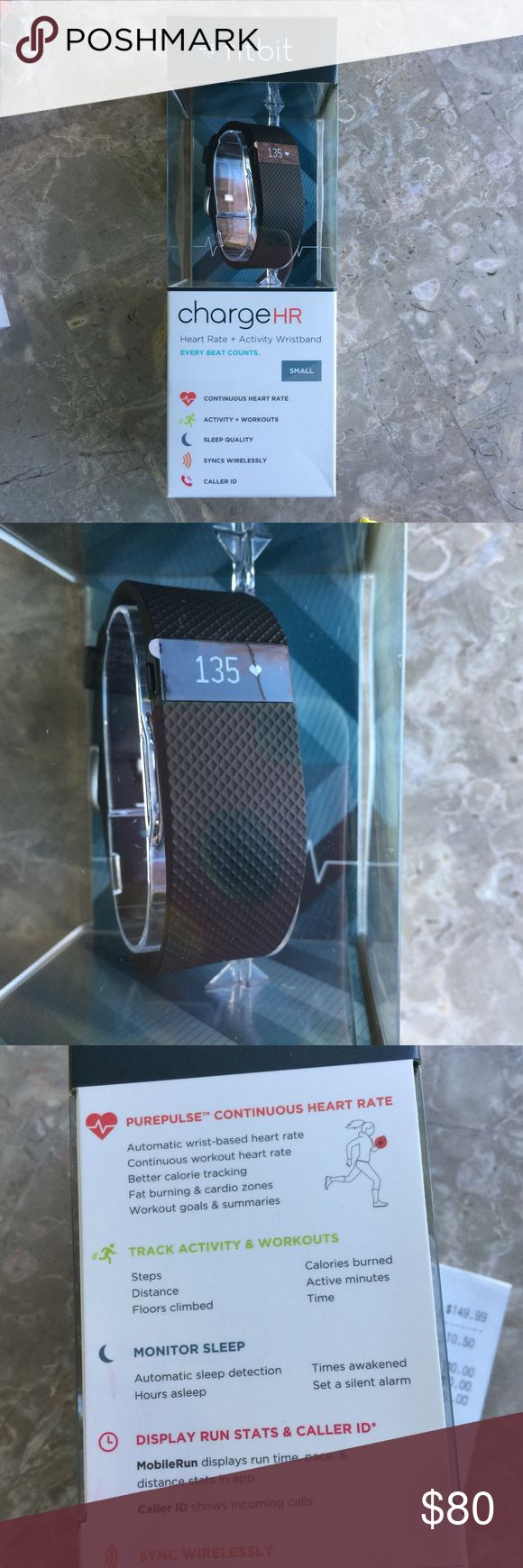Fitbit Charge HR Small Black Watch & Activity Band Fitbit Charge HR Small Black Watch, Heart Rate & Activity Wrist Band. NIB. Never been used!!! Paid $149.99 + $10.50 tax!! Can be yours for much less!!! fitbit Accessories Watches