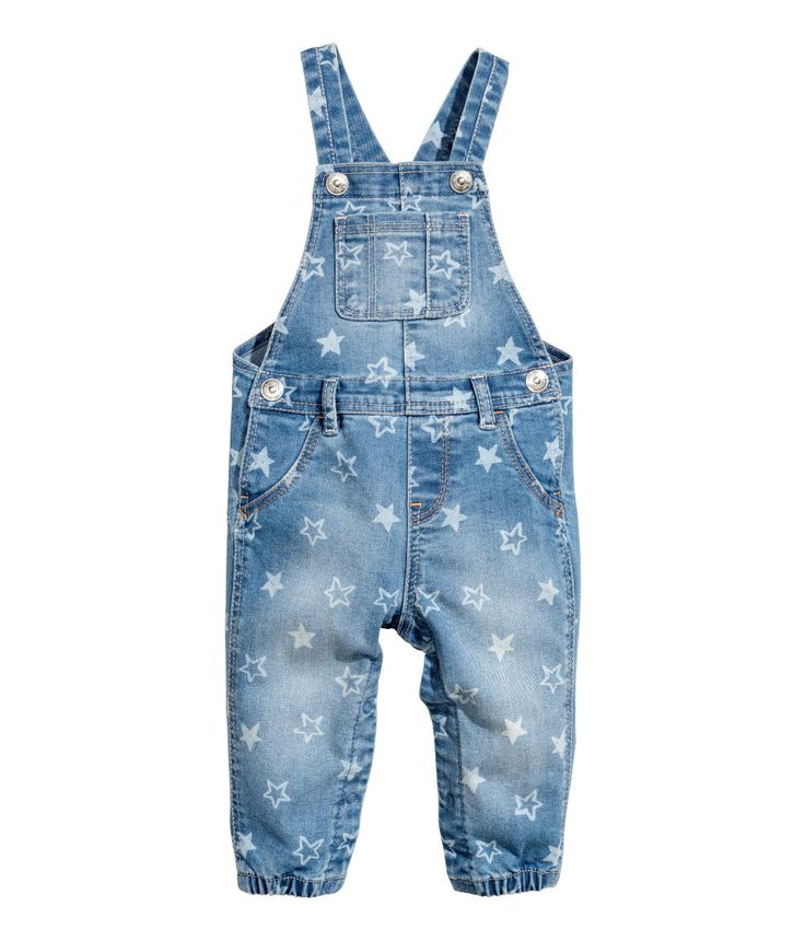 Check this out! Bib overalls in washed stretch denim. Adjustable suspenders with snap fasteners, bib pocket, mock front pockets, and regular back pockets. Seam at waist, snap fasteners at sides and at gusset, and elasticized hems. - Visit hm.com to see more.