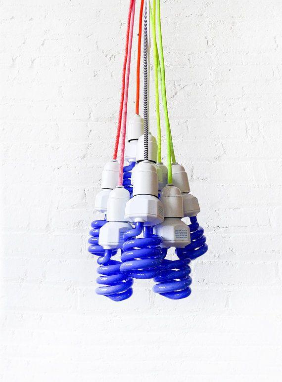 DIY Magic Black Neon Glow Night Light Pendant Lamp with Color Cloth Cord Pendant