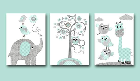 Elephant Giraffe Gray Mint Instant Download Art by nataeradownload