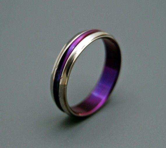 Royal purple wedding bands for men
