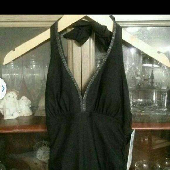 Assets spanx black swim dress sz small Nwt assets black swim dress with grey trim. Size small! SPANX Swim One Pieces