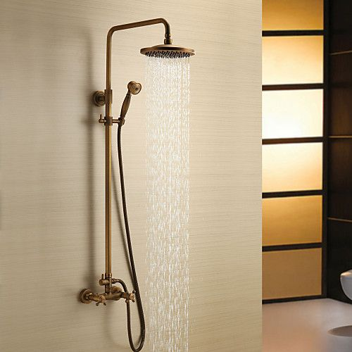 Antique Brass Shower Faucet with 8 inch Shower Head + Hand Shower 2017 - $157.59