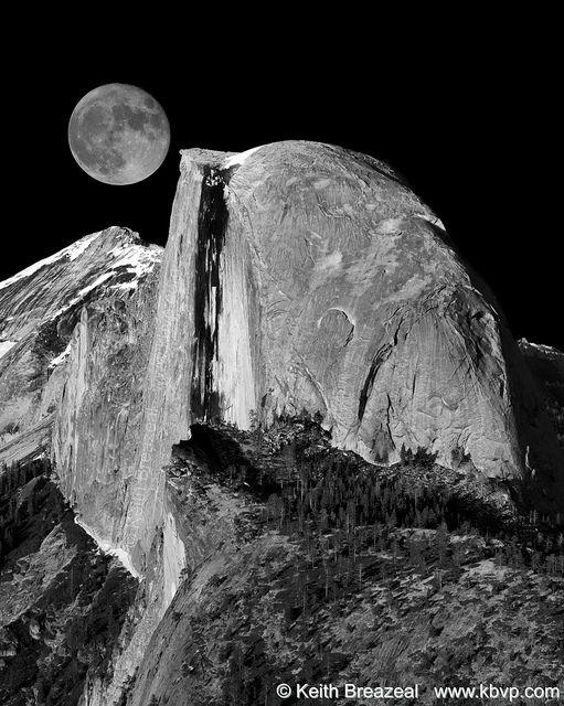 Yosemite's Half Dome and a full moon.
