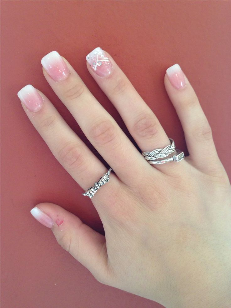 Full set acrylics. Ombre faded French manicure with rhinestone design for prom!