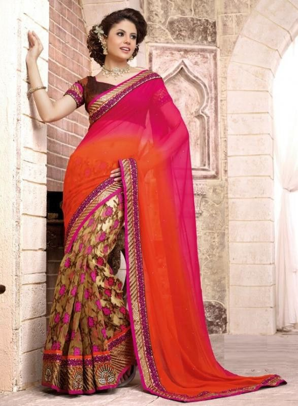 Pink and Orange Color Half Georgette and Half Fancy Designer Sarees : | YellowFashion.in