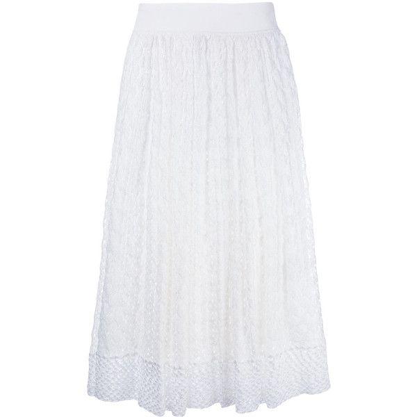 Missoni knitted midi skirt ($840) ❤ liked on Polyvore featuring skirts, white, white midi skirt, midi skirt, white knee length skirt, mid calf skirts and calf length skirts