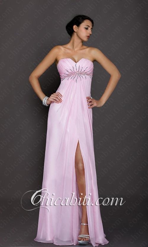 Lungo Elegante Rosa Pastello Spacco Sexy Vestito Sera