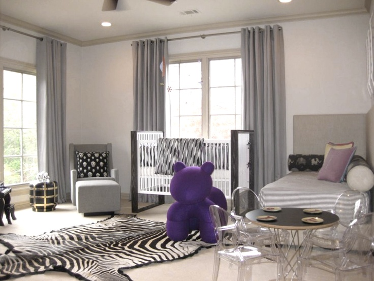 Modern Nursery Guest Room With Zebra Rug And Long Grey Curtain