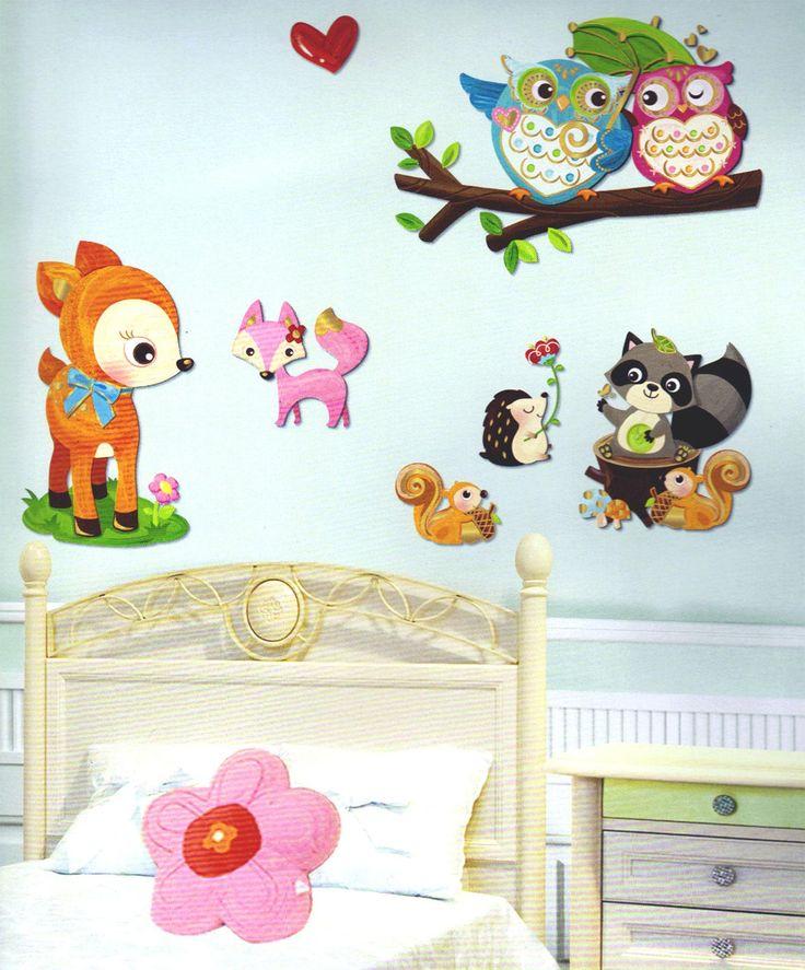 Adesivi Murali ANIMALI DEL BOSCO a più strati cm 41x29 per cameretta bambini.