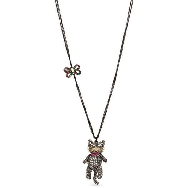Betsey Johnson  Hematite Tone Halloween Pave Cat Pendant Necklace ($65) ❤ liked on Polyvore featuring jewelry, necklaces, black, cat pendant necklace, cat pendant, multi coloured necklace, betsey johnson jewellery and cat necklace pendant