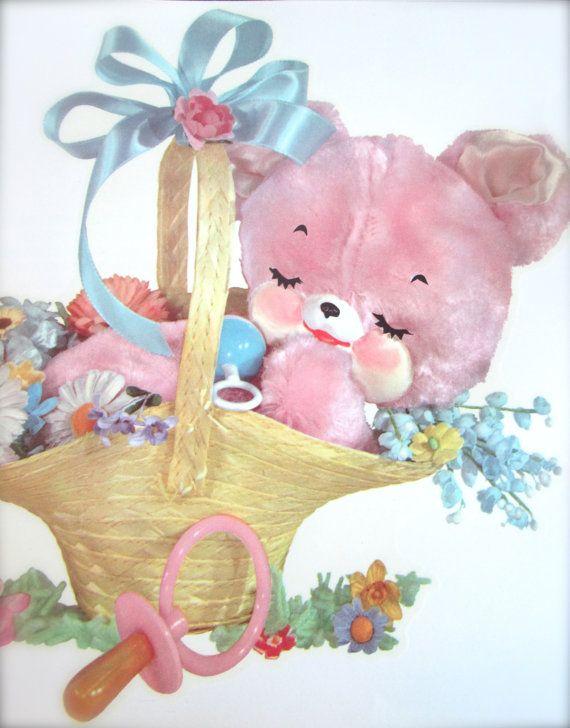 Vintage Crib Decals Nursery Decal Decor Lamb 1960s 60s Supplies Teddy Bear In Gift