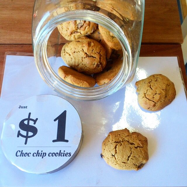 Home made $1 cookies. Beautiful gooey biscuit riddled with chunks of soft decadent chocolate a masterpiece of flavour waiting to partner your $3 coffee only at the Byron baby shop in Byron bay. #toddler #infant #ilovebyronbay #ilovecoffee #ilovechocolate #smallbusiness #destinationbyron #feedingtime #family #familyholiday #handmade #lovebyronbay #lovecoffee #cookies #chocchip #chocolate #cafe #coffee #visitbyronbay #bestcafe #crema #childfriendly #barista #espresso #byronbay #byronbabyshop