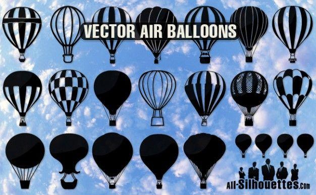 Balões de ar silhuetas