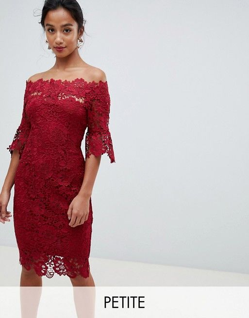 c1e275440a6d Paper Dolls Petite off shoulder crochet midi dress with frill sleeve in  oxblood   Clothes and shit   Crochet midi dress, Midi dress with sleeves,  ...
