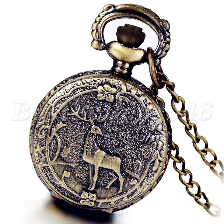 Vintage Bronze Steampunk Flower Deer Antlers Cover Pocket Quartz Watch Necklace #UnbrandedGeneric