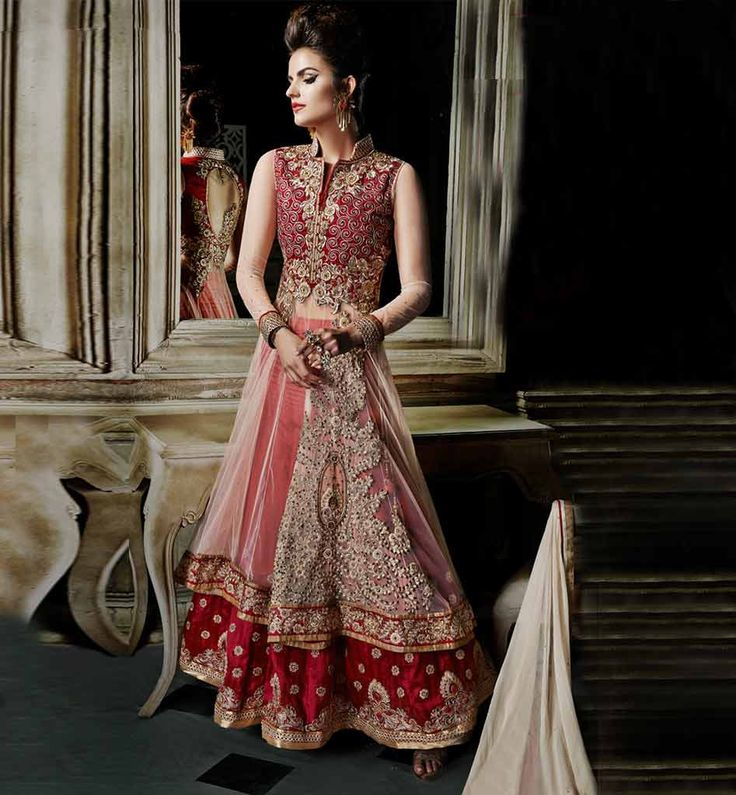 LEHENGA CHOLI DESIGNS FOR WEDDING ONLINE AT BEST RATE MARRIAGE COLLECTION CREAM AND MAROON LEHENGA CHOLI WITH STONE WORK