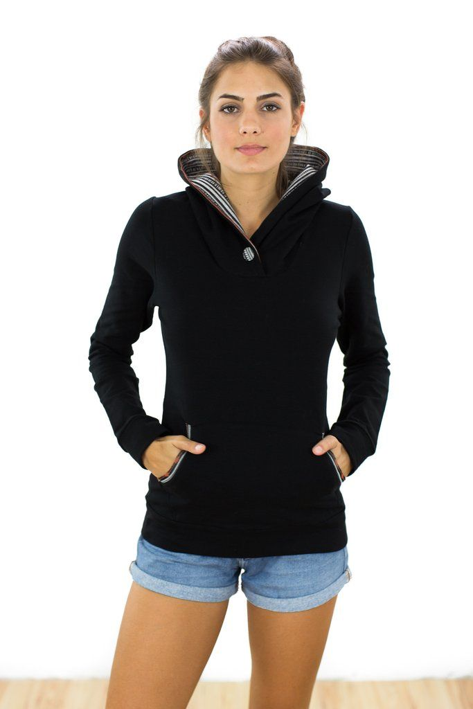 Hoodie Inkka Black This unique hoodie will keep you warm and stylish on those cold, rainy days. It is made of soft sweatshirt fabric in black with fleece inside. The hood and the kangaroo pockets are lined with a soft ethnic-aztec patterned fabric. A button in the same aztec pattern decorates the front of the neckline. Easy to combine and super comfortable, this will be your go-to hoodie! http://shoko-shop.com/collections/new-in/products/hoodie-inkka-1