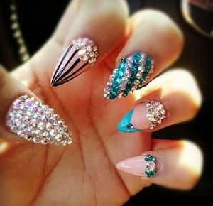 The 32 best ideas about nails on pinterest nail nail nail aqua blue blinged out pointed nails in love prinsesfo Choice Image