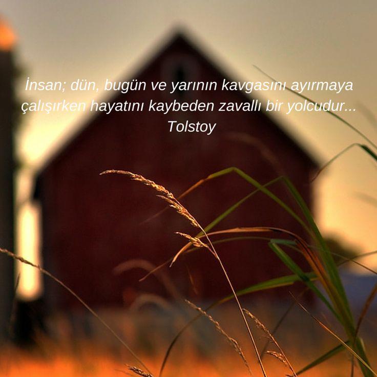İnsan; dün, bugün ve yarının kavgasını ayırmaya çalışırken hayatını kaybeden zavallı bir yolcudur... Tolstoy