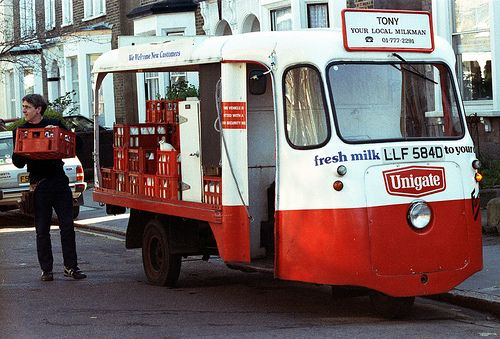 Electric milk float . I drove one like this and different floats . Q P S