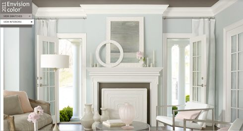 room in Marilyn's Dress by Benjamin Moore with Bright White accents