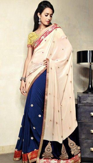 Brijraj Saree, Peach Blue Poly Georgette Resham Sequence Embroidered Saree With Unstitch Blouse
