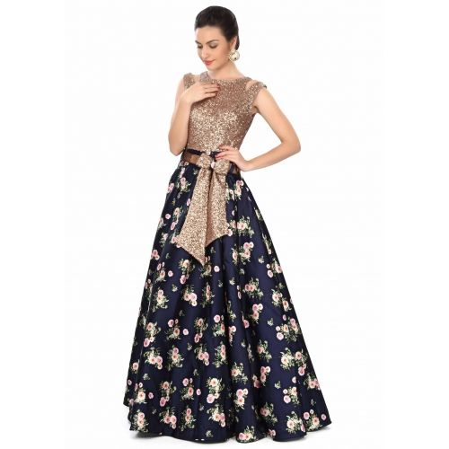 Kalki Fashion Navy Bue Gown Features in Sequin and Floral Print