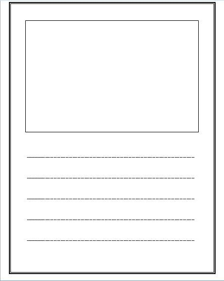 template for writing a will - free lined paper with space for story illustrations