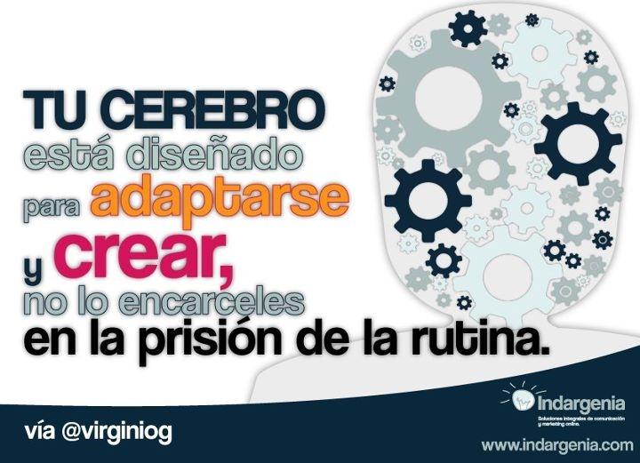 Tu cerebro esta diseñado para adaptarse y crear, no lo encarceles en la prisión de la rutina.  Vía http://pinterest.com/Garcinuno