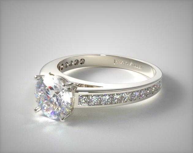 Simple K White Gold Channel Set Princess Shaped Diamond Engagement Ring This gorgeous channel set diamond