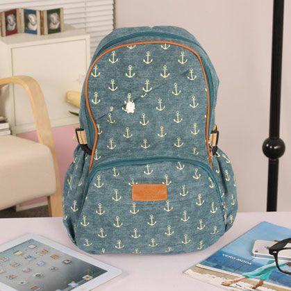 Price:$30.00 Color: A/B/C/D Vintga Anchor Print Canvas Backpack