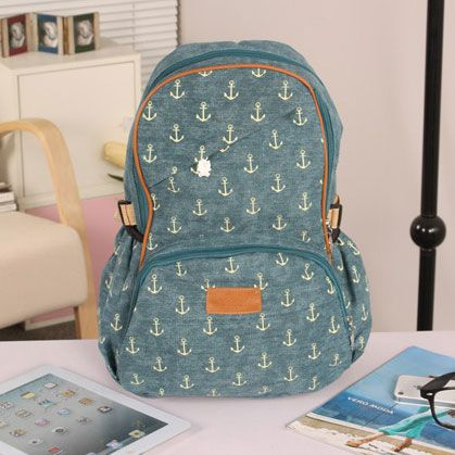 Anchor Print Canvas Backpack
