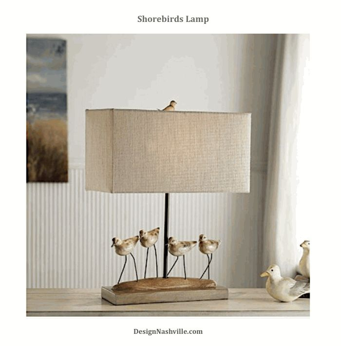 Shorebirds Lamp. naturalistic birds accompany this neutral lamp with sophisticated boxed, linen shade. DesignNashville.com Coastal Living Collection